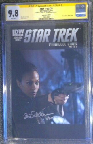 "Star Trek #30 photo variant__CGC 9.8 SS__Signed by Zoe Saldana w/ ""Uhura"""