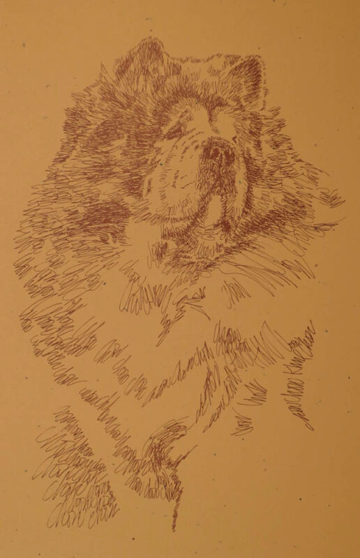 CHOW CHOW DOG ART PRINT #58 Kline adds dogs name free. Word Drawing. GREAT GIFT