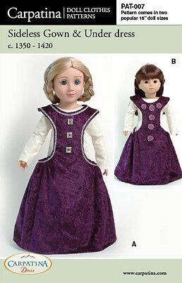 """Medieval Sideless Dress 18"""" Doll Sewing Pattern fits Carpatina & American Girl"""