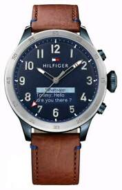 BRAND NEW Tommy Hilfiger TH 24/7 Smartwatch Brown Leather Strap Blue Dial