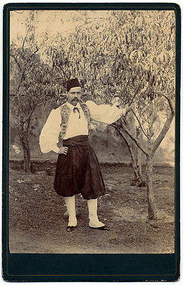 Cabinet Bulgaria Albania Greece or Turkey Man in ethnic costume 1890c S985