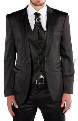 Mens Black Shiny Wedding Party Suit Blazer, Trouser, Crovat & Waistcoat