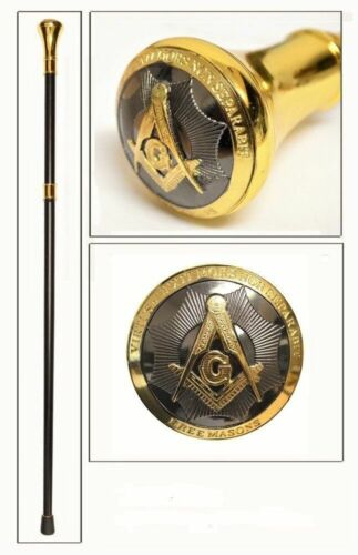 "Masonic Walking Stick Cane -Gold- Freemasons -Mason- Square and Compass 37""  NEW"
