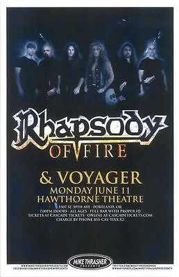 RHAPSODY OF FIRE 2012 Gig POSTER Portland Oregon Concert