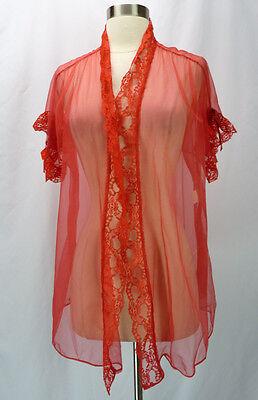 Vintage 70s Sheer Red Chiffon Lace Trim Open Babydoll Short Robe Peignoir L