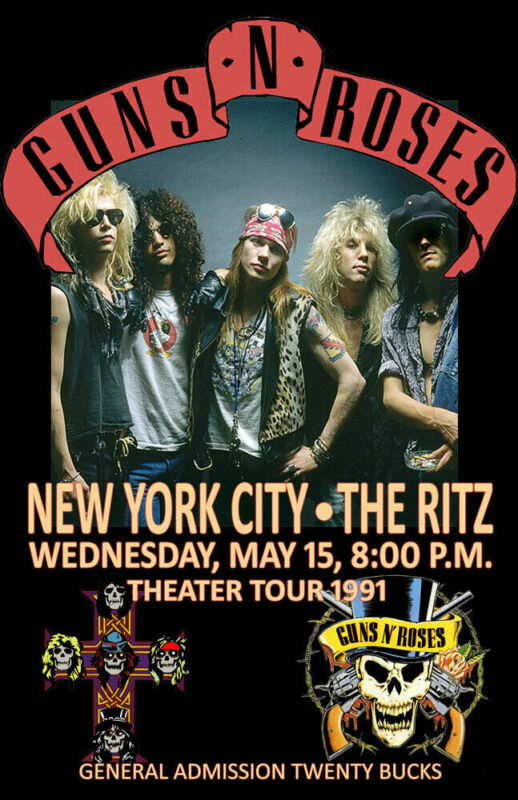 GUNS N ROSES *THE RITZ NYC* REPLICA 1991 CONCERT POSTER
