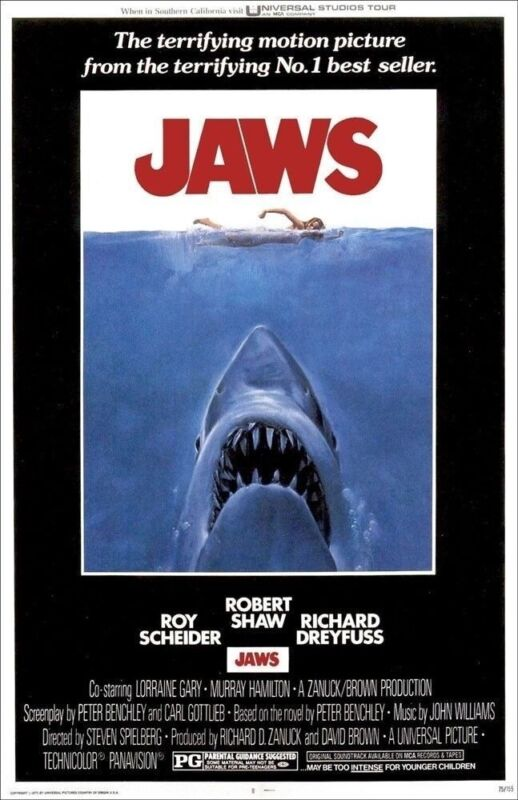 JAWS REPLICA 1975 MOVIE POSTER