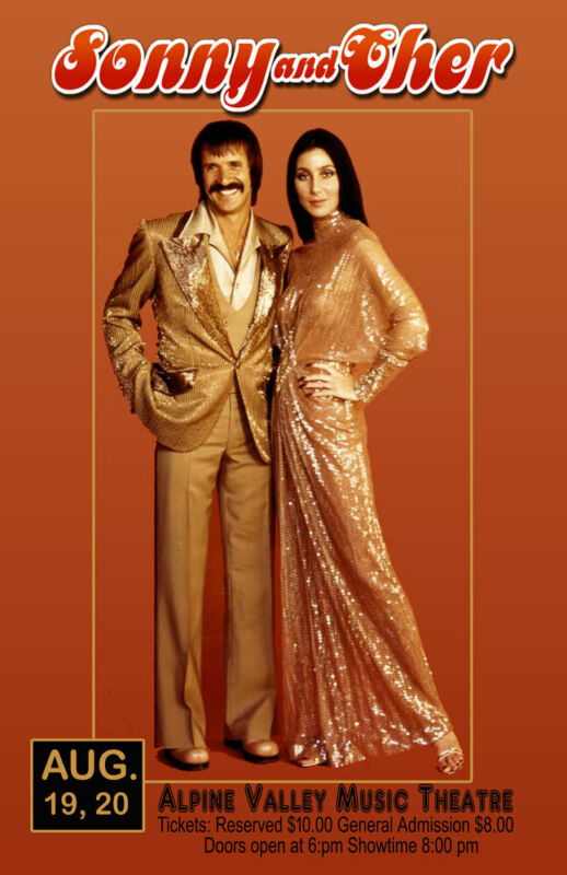 SONNY AND CHER REPLICA 1977 CONCERT POSTER
