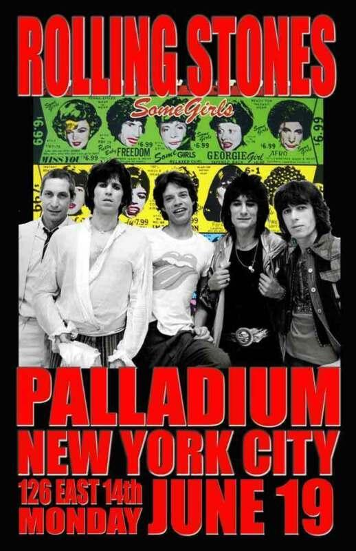 ROLLING STONES REPLICA 1978 *PALLADIUM* CONCERT POSTER