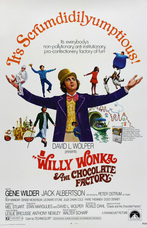 WILLY WONKA AND THE CHOCOLATE FACTORY REPLICA 1971 MOVIE POSTER
