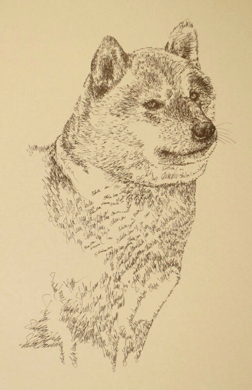 Japanese Shiba Inu Dog Art Print #35 Stephen Kline adds your dogs name free GIFT