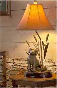 Labrador Dog Decoy Duck Cattail Table Lamp Hunting Lab
