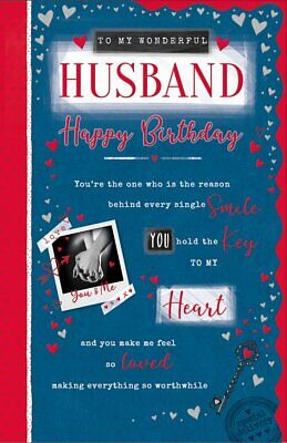 HUSBAND BIRTHDAY CARD - EXTRA LARGE QUALITY CARD - MODERN DESIGN & LOVELY VERSE