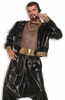 80's Hip Hop Unisex Rap Star Jacke Blk Wet-Look Poly Stoff Gold Lame Rand