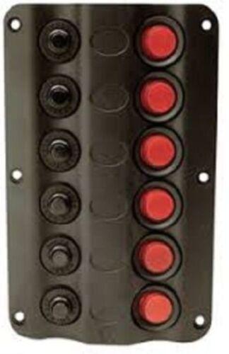 "SEACHOICE LED Switch Circuit Breaker Panel Black Plastic 6 Gang 6-1/4"" 12331"