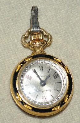 Andre' Rivalle black Enamel 17 Jewel Mechanical Pocket Watch Swiss Made pendant