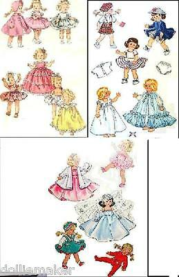 "GINNY DOLL VTG 3 CLOTHES PATTERNS 18 PIECES  VIRGA, WENDY ALEXANDER 8"" DOLLS"