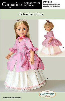 """18"""" Dolls Pattern for Polonaise Costume multisized for American Girl & Carpatina"""