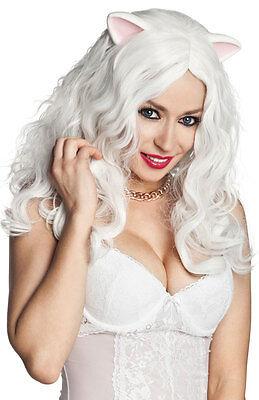 Lange Weiß Perücke Katze Ohren Kostüm Kätzchen Damen Katzen Kostüm Haar Neu