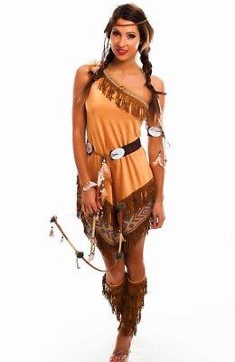 Damen Kostüm Indianerin asymmetrisch mit Fransen Squaw Western Cowgirl
