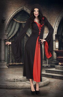 Vampir Kostüm Damen,Hexe,Gothic schwarz rot S,M,L,XL Halloween (Rote Hexe Kostüme)