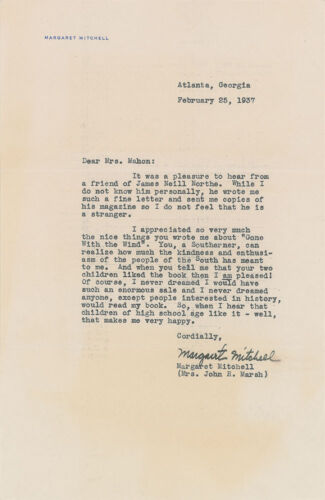 """Margaret Mitchell - Typed Letter Signed - Amazing """"gone With The Wind"""" Content"""