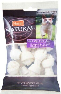Hartz Natural Mini Bone Rawhide Chew Small Dog Treat 2.80 oz 10 ea
