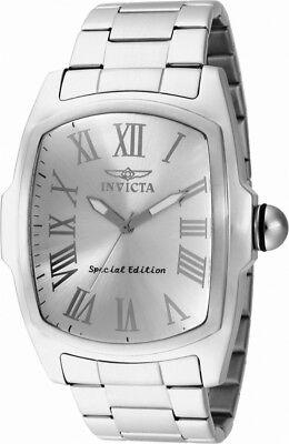 Invicta Lupah 15187 Men's Silver Tone Analog Tonneau Roman Numerals Watch
