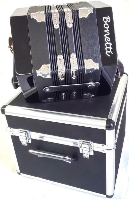 Bonetti 20 Button Black Concertina Accordion w/Case