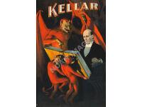 Kellar The Magician vintage magic circus poster repro 16x24