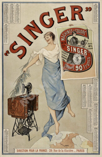 Singer Machines Coudre vintage sewing machine ad poster 24x36