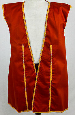 Pirate Buccaneer Vest Men's Large Red Twill  Halloween Fantasy CosPlay Costume
