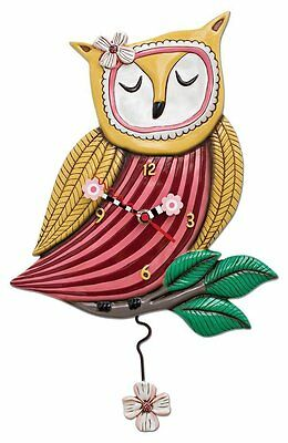 Allen Designs Pretty Wise Owl Pendulum Childs Kids Whimsical Wall Clock