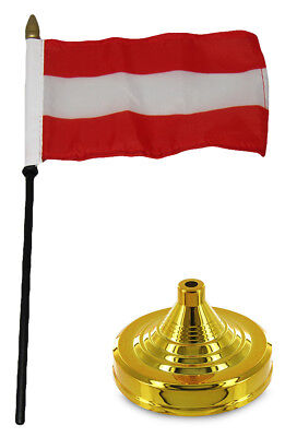 "Austria Plain 4""x6"" Flag Desk Set Table Wood Stick Staff Gold Base"