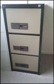 Office filing cabinet 3 drawers - Brown and Beige