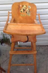 Chaise haute antique pour enfant