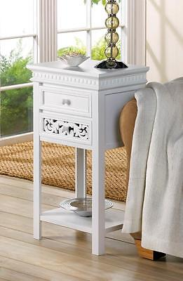 Shabby Oyster-white Chic Table, Nightstand, 2 Drawers -Wood-NEW