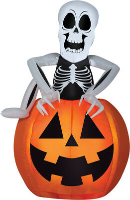 HALLOWEEN PUMPKIN POP UP ANIMATED SKELETON HAUNTED HOUSE INFLATABLE AIRBLOWN 5FT