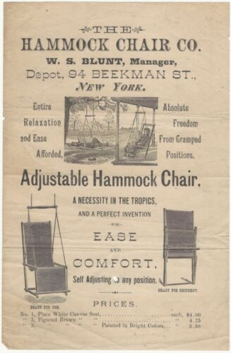 1870s Hammock Chair Co. Adjustable Hammock Chair Illustrated Handbill
