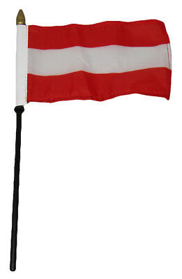 "Wholesale 6 Austria Plain 4""x6"" Flag Desk Set Table Wooden Stick Staff"