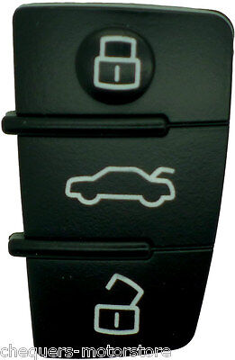 Fits Audi A2 A3 A4 A6 A8 TT Q5 Q7 3 Button Key Fob Case Remote Rubber Buttons
