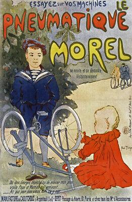 Pneumatique Morel vintage bicycle tire ad poster 16x24