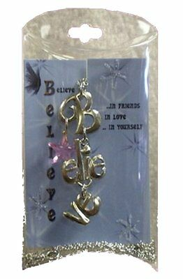 "Fairy Believe Necklace Charms Pink Star 24"" Chain Fantasy Party Supply"