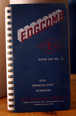 EDGCOMB Steel Company Stock List No 53 Vintage Catalog 1950's Stainless Aluminum