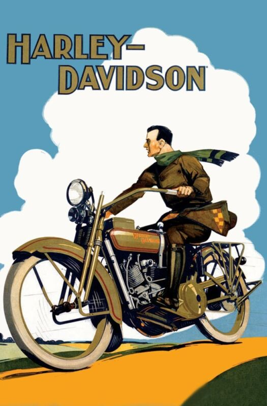 Harley Davidson Motorcycle Poster photo  Ad 1918 COLORFUL  US  England,