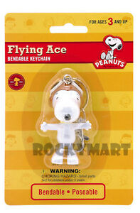 Peanuts Snoopy Flying Ace Key Chain Bendable Toy Figure