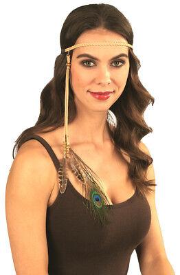 Stirnband mit Pfauenfeder zum Indianer Kostüm für Karneval Mottoparty Festival