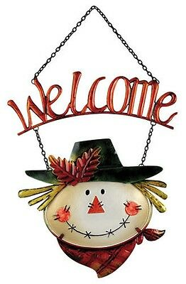 SCARECROW Welcome Sign-Plaque-Hanging-Metal & Glass by Sunset Vista Designs