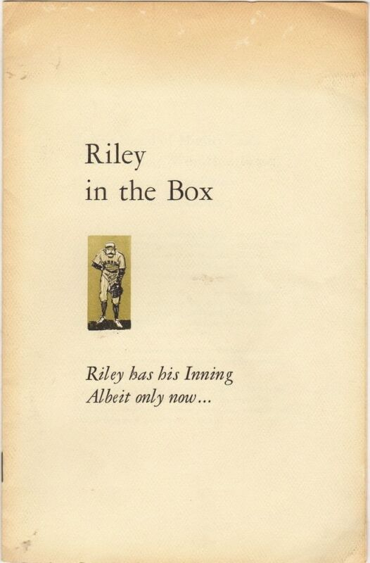 Vintage Baseball Poetry Riley in the Box the Pitcher to Mighty Casey of Mudville