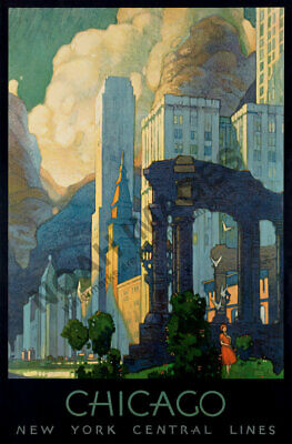 Chicago New York Central Line vintage train travel poster repro 24x36